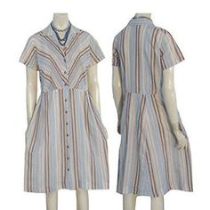 Vintage 1950s Chevron Stripes Pleated Pin Tucks Day Dress #Unbranded