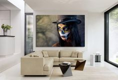 1 Panel-Skull Face Art Print Painting On Canvas