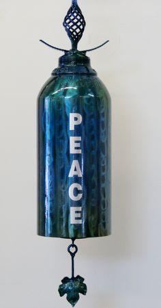 Peace with Leaf Ringer Oxygen Tank Bell by Art Attack Designs Bell Art, Art Sculptures, Welding, Garden Art, Perfume Bottles, Industrial, Peace, Steel, Artist