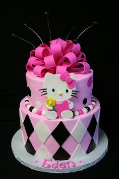 Hello Kitty Cake Picture from Cakes. Pink, White, And Black Hello Kitty Cake Pretty Cakes, Cute Cakes, Beautiful Cakes, Amazing Cakes, Yummy Cakes, Torta Hello Kitty, Hello Kitty Birthday Cake, Checkered Cake, Gateaux Cake