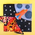 quiet book: zippered so the flames get bigger as you get closer to the moon...pretty cute.