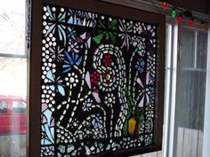 Mosaic flower garden vintage window by PiecesofhomeMosaics on Etsy, $275.00
