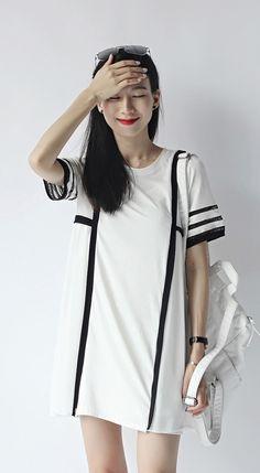 Minimalism short sleeved black two-tone cotton chiffon mesh blend mini dress