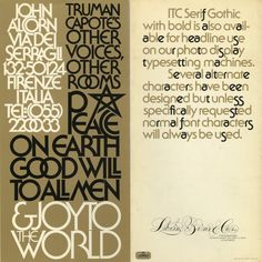 Promotional brochure announcing the release of the Serif Gothic typeface designed by Herb Lubalin and Tony Di Spigna. Brochure designed by Herb Lubalin, 1972.
