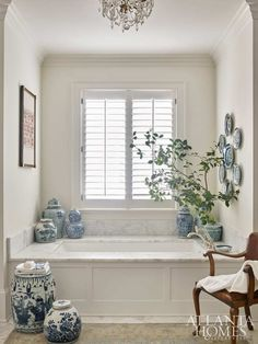 Atlanta Homes & Lifestyles I am a big fan of using a blue and white Chinese garden stool in a bathroom as a perch for towels, but this b. Bathroom Interior Design, Home Interior, Decor Interior Design, Interior Decorating, Design Interiors, Decorating Ideas, Decor Ideas, Decorating Websites, Gold Bad