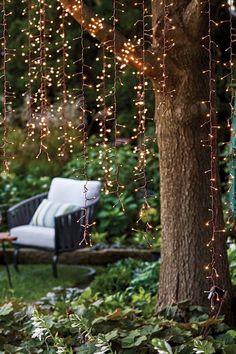 Outdoor Tree Lighting, Backyard Lighting, Outdoor Tree Decorations, Outside Lighting Ideas, Gazebo Lighting, Garden Lighting Diy, Garden Decorations, Solar String Lights, String Lights Outdoor