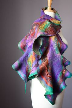 Abstract Felted scarf  wool silk rust purple by VitalTemptation,
