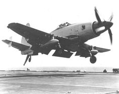 Westland Wyvern coming in for a landing on a aircraft carrier (