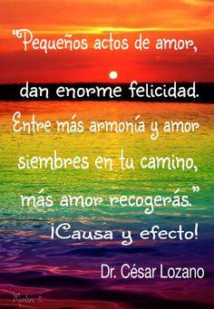 """""""Pequeños actos de amor, dan enorme felicidad. Entre mas armonía y amor siembres en tu camino, más amor recogerás."""" ¡Causa y efecto! Dr. César Lozano"""