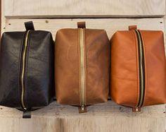 Barbesco Personalized Handmade Dark Tan / Old English Brown Italian / Gloss Orange Tan Leather Toiletry bag Dopp Kit Metal zipper Wash Bag