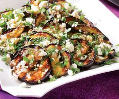 Grilled eggplants with feta and cumin vinaigrette