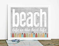 Beach Home Decor - Lake House Art Print - Rustic Beach House Inspired Typography Poster - Surfboards Woodgrain