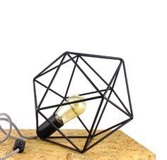 Polyhedron Geometric Diamond Table Lamp Industrial Cage Black Metal Lighting Icosahedron Minimal Home Decor Edison