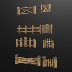 a set of low-poly fences and gates. Fully customizable low-poly 3D model. #3D #3DModel #3DDesign #Lowpoly #3dcomic #VR #AR #fences #gates #set #WoodenFences #WoodenGates Wooden Gates, Wooden Fence, Uv Mapping, Low Poly 3d Models, 3d Design, Geometry, 3 D, Fences, Group