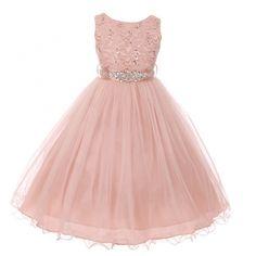 Little Girls Blush Stretch Lace Glitter Sequin Stone Sash Flower Girl Dress 4-6