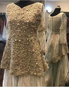 Wedding party gharara set with beautiful paplam shirt in golden gray color Model 391 Pakistani Party Wear, Pakistani Wedding Outfits, Pakistani Couture, Pakistani Dress Design, Bridal Outfits, Pakistani Dresses, Indian Dresses, Pakistani Gharara, Sabyasachi