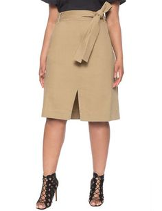 Studio Slit Front Belted Skirt from eloquii.com