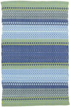 Dash and Albert Fiesta Stripe French Blue/Green Indoor/Outdoor Rug Ships Free