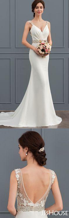 Trumpet-Mermaid-V-Neck-Court-Train-Satin-Wedding-Dress-With-Lace-Beading #JJsHouse #Wedding