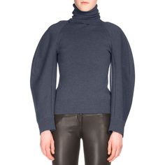 Balenciaga Ribbed Wide-Sleeve Turtleneck Sweater ($985) ❤ liked on Polyvore featuring tops, sweaters, encre, long sleeve turtleneck, turtleneck sweater, long sleeve sweater, turtle neck top and long turtleneck sweater