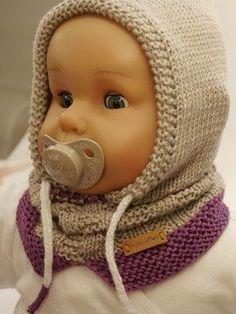 Hette skjerf Little Hoody for barn - Gr. Knitted Hats Kids, Crochet Hats, Knit Hats, Hooded Scarf, Diy Embroidery, Beautiful Patterns, Knit Patterns, Baby Knitting, Scarves