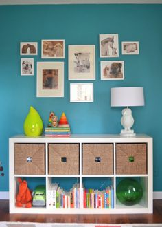 Bold teal wall with white
