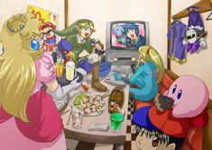 Princess Peach, Mario, Falco, Link, Marth, Samus, Meta Knight, Ness, and Kirby - Super Smash Bros. Brawl #SSBB pokky
