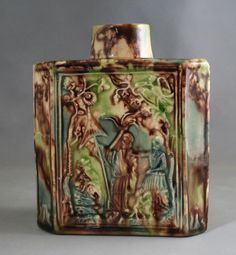 "Creamware chinoiserie tea caddy, circa 1765 probably Whieldon Staffordshire £1,650.00 4⅞"" tall Minor chips to rim res;"