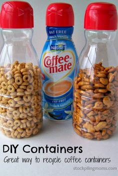 Turn empty coffee creamer bottles into snack containers