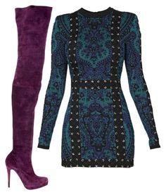 Purple, Black & Blue by carolineas on Polyvore featuring polyvore, fashion, style, Balmain, Christian Louboutin and clothing