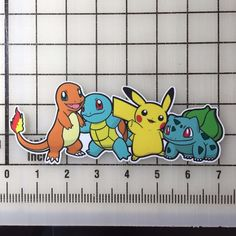 "Pokemon Charmander Squirtle Pikachu Bulbasaur 7"" Wide VInyl Decal Sticker - BOGO"