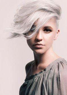 Short platinum blonde with long side bang