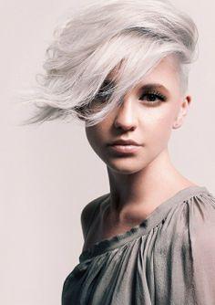 Short platinum blonde with long side bang