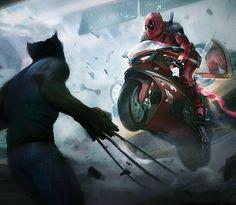 Deadpool Requested by: & Art by: Gina Chang -- Marvel Dc, Marvel Heroes, Comic Books Art, Comic Art, X Mem, Logan Wolverine, Deadpool Wolverine, Batman, Geek Art