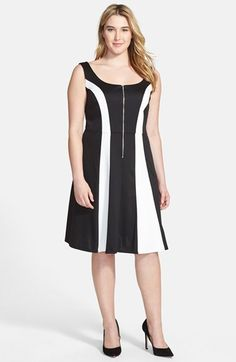 ABS by Allen Schwartz Colorblock Ponte Fit & Flare Dress (Plus Size) available at #Nordstrom