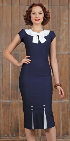 First Class | Fitted Dress | Stop Staring!First Class | Navy and White $158