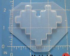SALE Retro Layered 8-Bit Small Heart Flexible Plastic Handmade Resin Mold