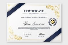 Modern certificate template with flat design Vector Certificate Of Participation Template, Certificate Of Completion Template, Certificate Format, Certificate Design Template, Printable Certificates, Design Floral, Modele Word, Design Tradicional, Estilo Floral