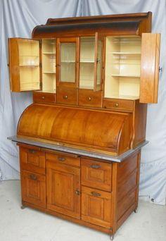 Antique Bakers Cabinet   F844C Antique Bakers Kitchen Cabinet - Springfield, Hoosier Cabinet
