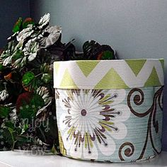 Super cute #DIY reversible basket from @{enjoy the view} out of @HGTV HOME fabric #chevron