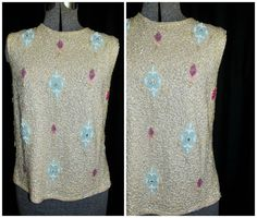 Vintage 1950's 1960's Ivory Wool Sequined Shell by CicelysCloset