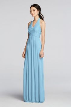 This fan-favorite long halter bridesmaid dress stands out with a thoughtfully pleated crisscross bodice and shoe-skimming mesh skirt.  Long flowing mesh skirt provides lots of movement.  Also available in Extra Length. Check your local stores for availability.  Fully lined. Back zipper. Imported.Dry clean only. To protect your dress, try our Non Woven Garment Bag.