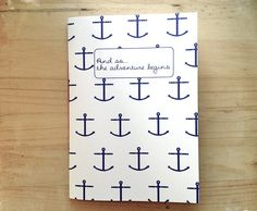 Anchor Bound Notebook Nautical Print Stitched by mipluseddesign, €10.00