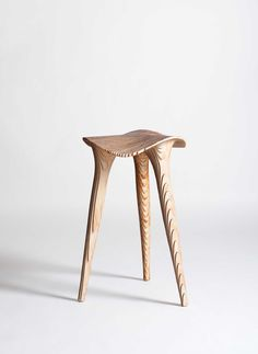 The SADL STOOL from Belgian design studio LMBRJK is a product of the mutual partnership between machinic precision and human sensibility.The SADL STOOL reorganizes sheet plywood through a proces Unique Furniture, Wooden Furniture, Furniture Design, Decoration Inspiration, Furniture Inspiration, Decor Ideas, Raw Wood, Wood Design, Chair Design