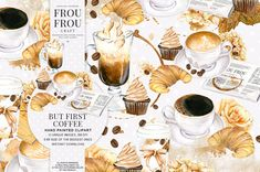 Coffee Clipart Watercolor Coffee Clip Art by froufroucraft on Etsy