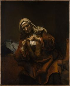 Rembrandt van Rijn- Old woman cutting her nails