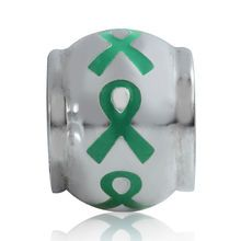 Green Ribbon Awareness Sterling Silver Ribbon BE Bead Charm GC0005 :: Green Awareness Ribbon Jewelry :: Awareness Jewelry :: Generous Gems