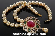 Pearl Mala with ruby emerald pendant