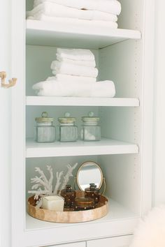 Bathroom Bookshelf Decor Ideas. How to decorate bathroom bookshelves. Natalie Clayman Interior Design.