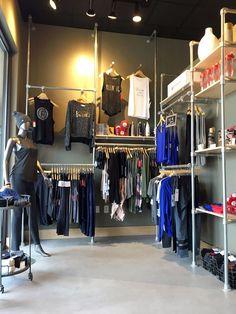 Clothing store design ideas: 39 diy retail display ideas (from clothing rac Retail Clothing Racks, Clothing Store Displays, Clothing Store Design, Boutique Interior, Shop Interior Design, Wall Mounted Clothing Rack, Vintage Display, Shop House Plans, Shop Front Design